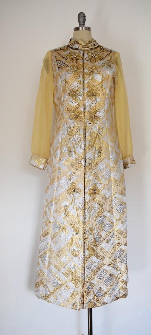 RARE Vintage 1950s Handmade Gold Sequin Beaded Dress