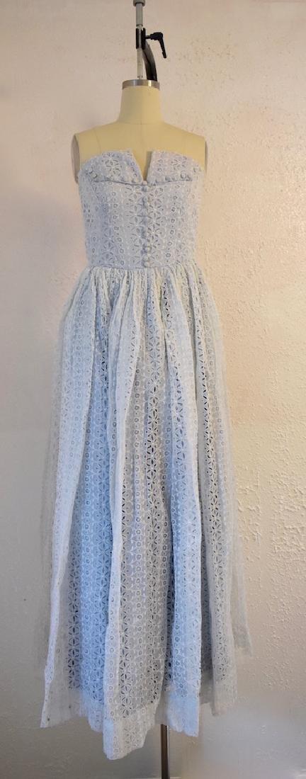 Vintage 1950s Strapless Blue Eyelet Dress