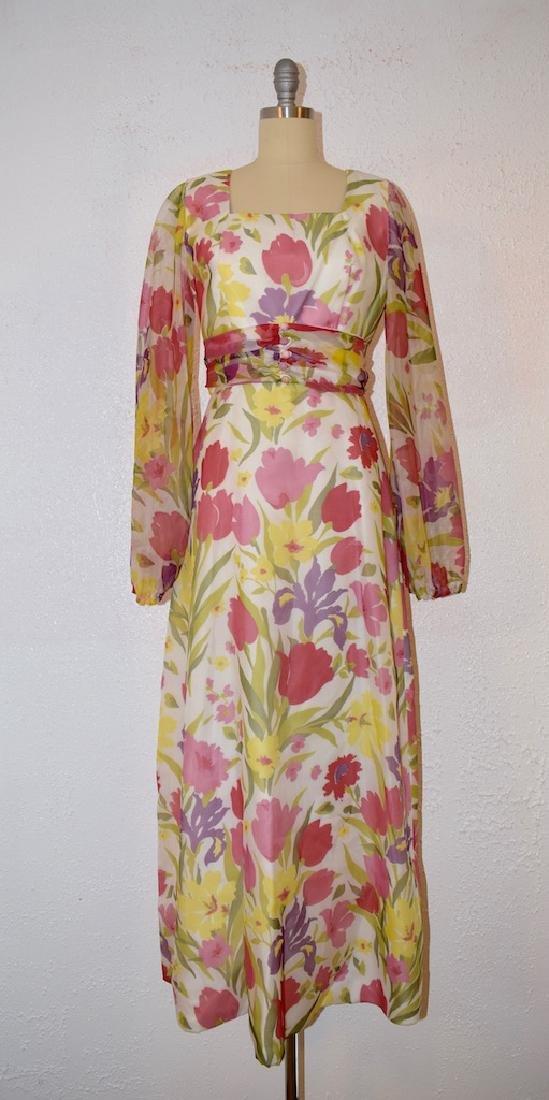 Vintage 1970s Motif Floral Dress