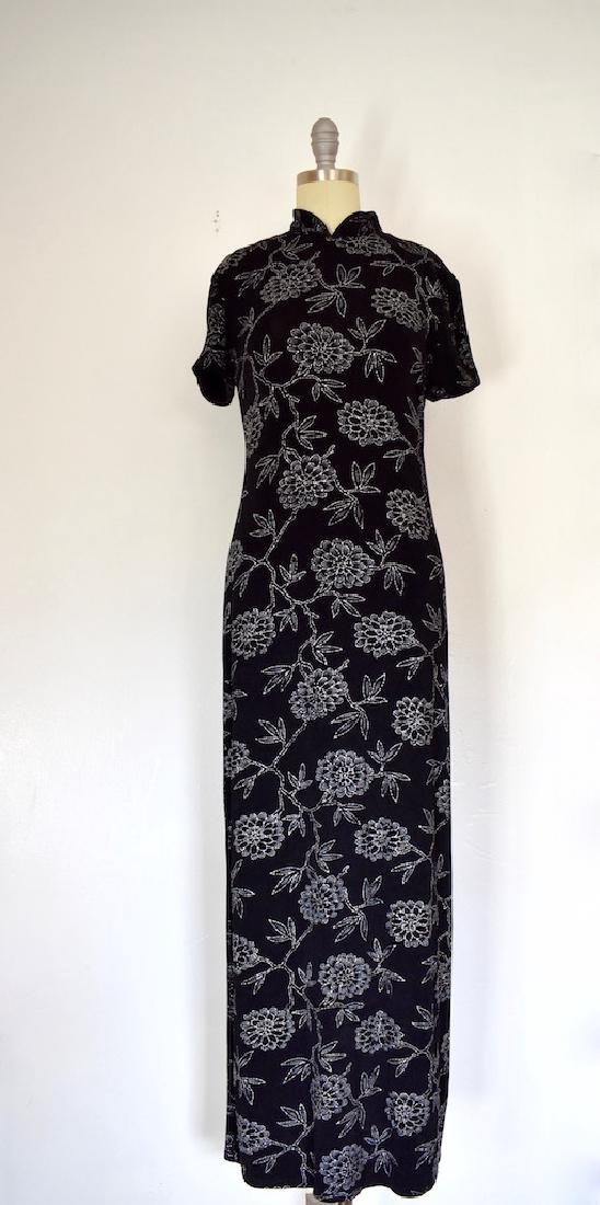 1980s Jessica Howard Floral Silver and Black Dress