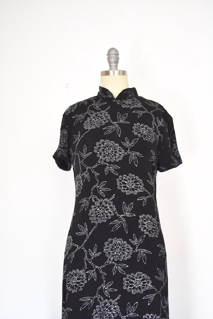 1980s Jessica Howard Floral Silver and Black Dress - 2