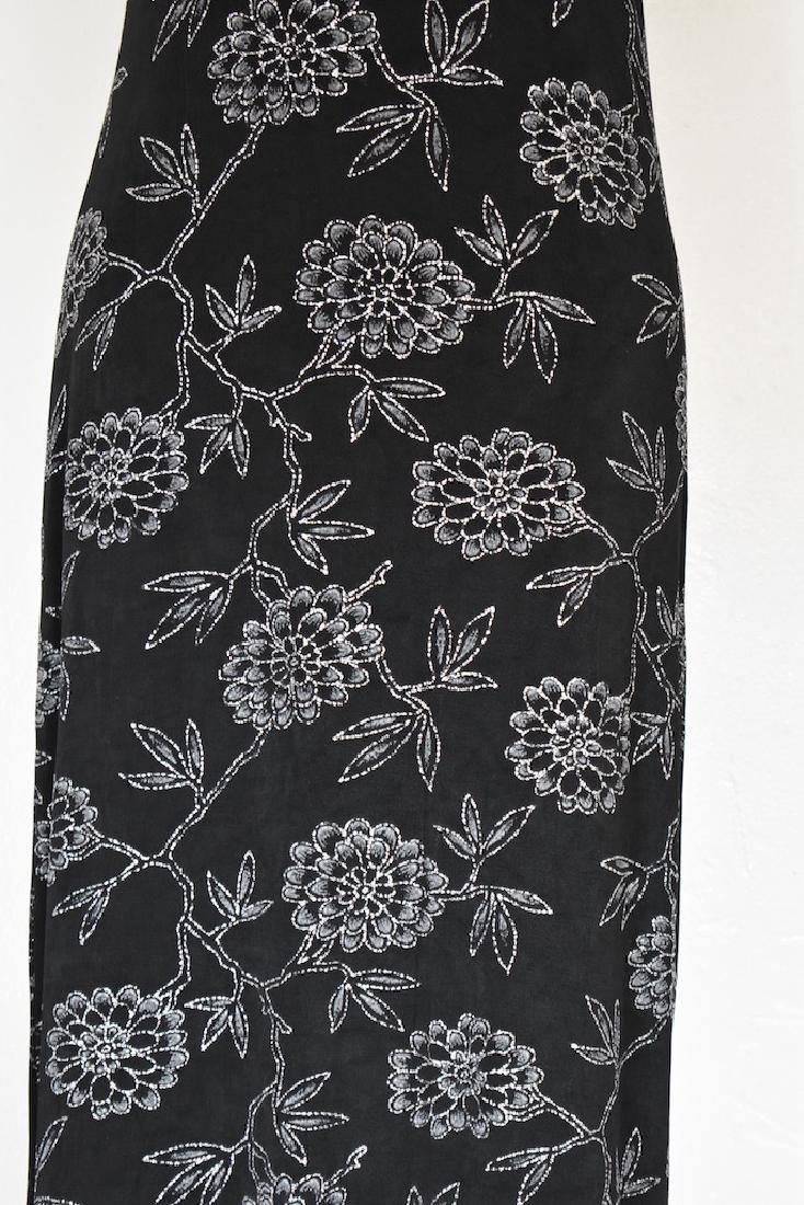 1980s Jessica Howard Floral Silver and Black Dress - 3