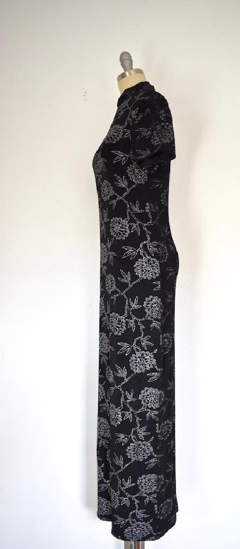1980s Jessica Howard Floral Silver and Black Dress - 4