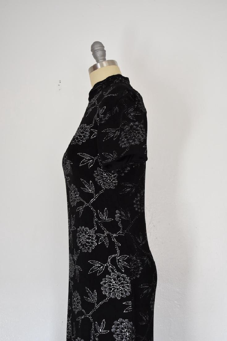 1980s Jessica Howard Floral Silver and Black Dress - 5
