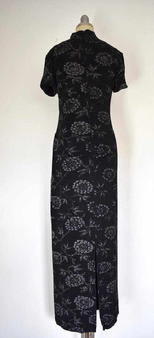 1980s Jessica Howard Floral Silver and Black Dress - 6