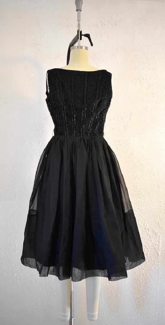 1960s Elinor Gay Original Black Sequin Day Dress