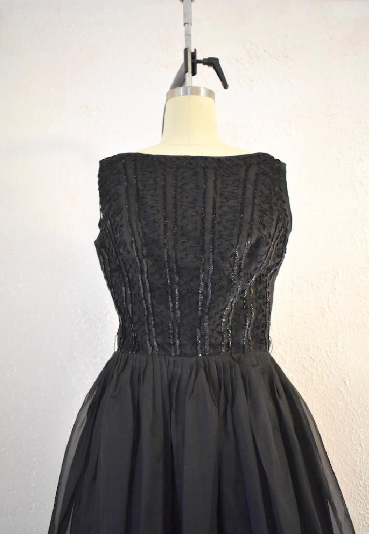 1960s Elinor Gay Original Black Sequin Day Dress - 2