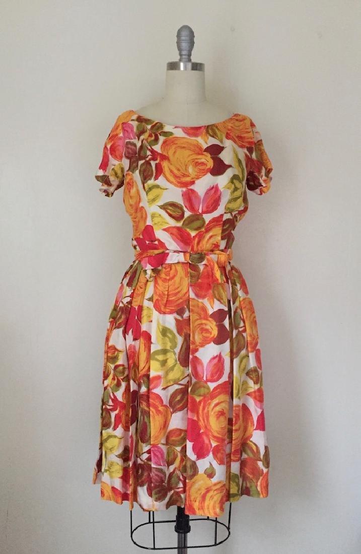 1950s Suzy Perette Silk Orange Floral Cocktail Dress
