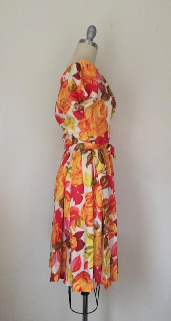 1950s Suzy Perette Silk Orange Floral Cocktail Dress - 2