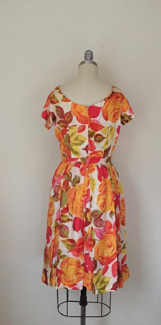 1950s Suzy Perette Silk Orange Floral Cocktail Dress - 3