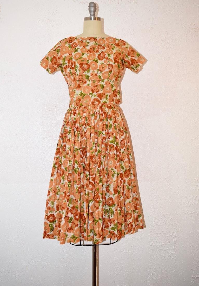 Vintage 1950s Orange Pansies Dress