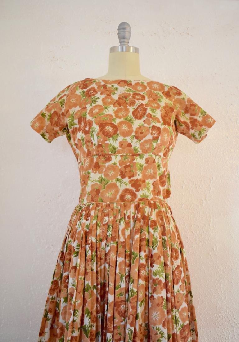 Vintage 1950s Orange Pansies Dress - 2