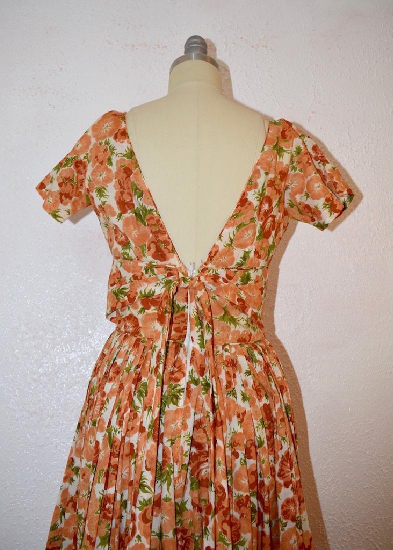 Vintage 1950s Orange Pansies Dress - 3
