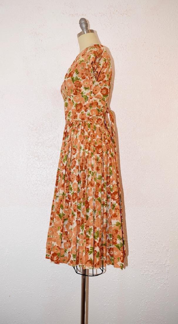 Vintage 1950s Orange Pansies Dress - 4