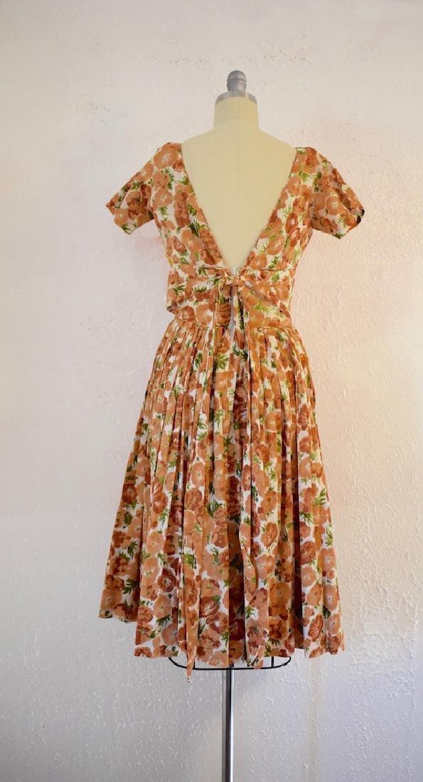 Vintage 1950s Orange Pansies Dress - 5