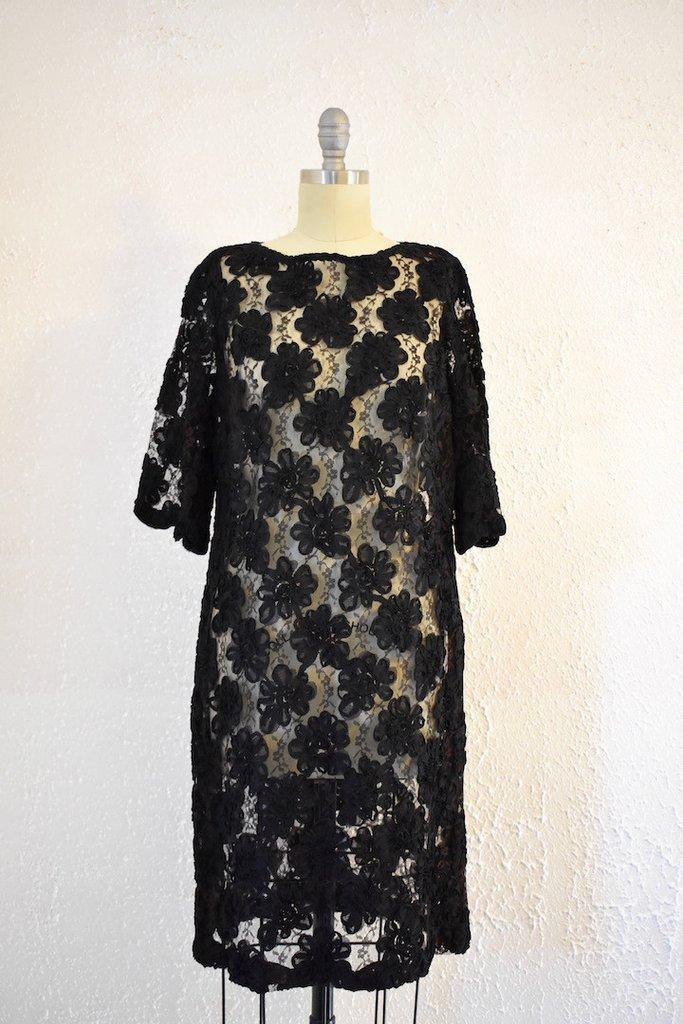Vintage 1960s Lace Black Shift Dress