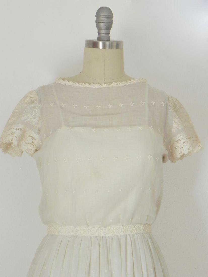 Vintage 1970s Neiman Marcus White Ivory Lace Cotton - 2