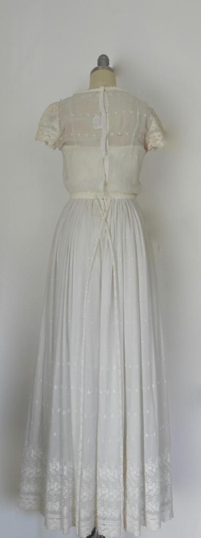 Vintage 1970s Neiman Marcus White Ivory Lace Cotton - 4