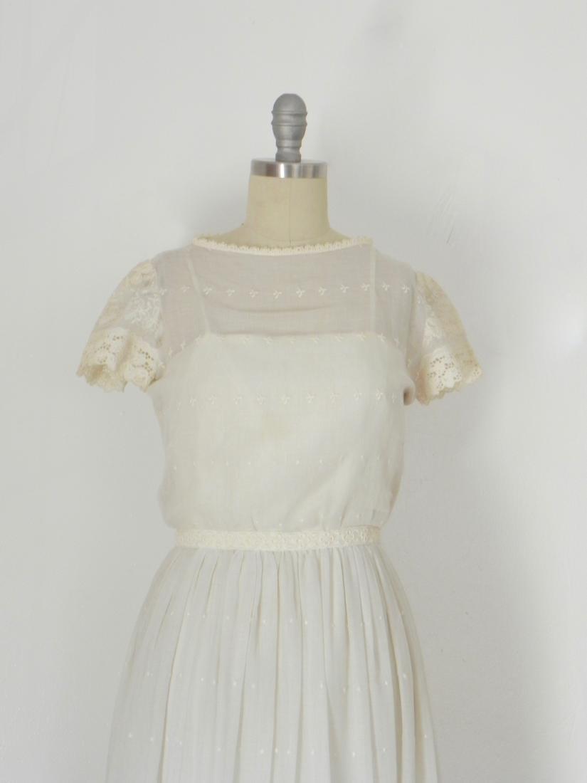 Vintage 1970s Neiman Marcus White Ivory Lace Cotton - 7