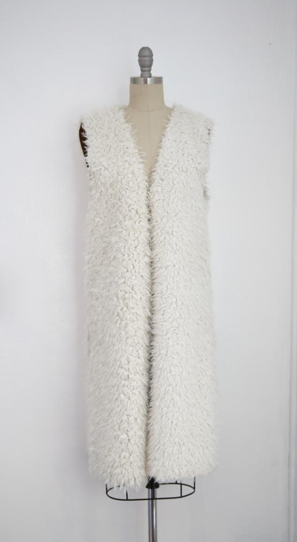 Vintage Ivory Faux Shaggy Fur Reversible Open Vest