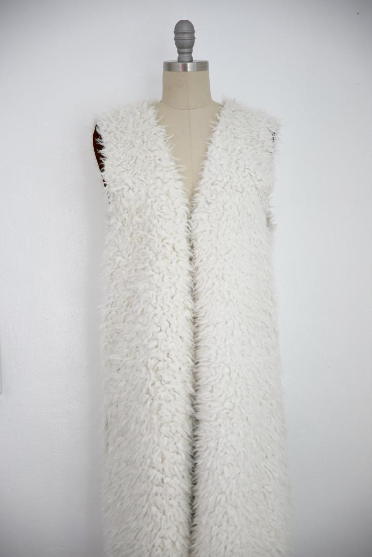 Vintage Ivory Faux Shaggy Fur Reversible Open Vest - 2