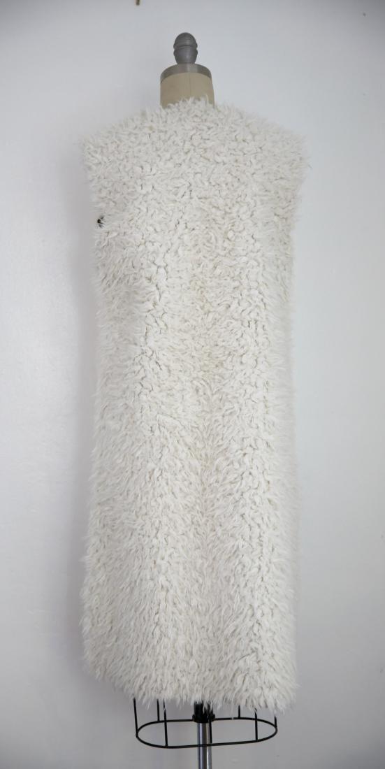 Vintage Ivory Faux Shaggy Fur Reversible Open Vest - 4