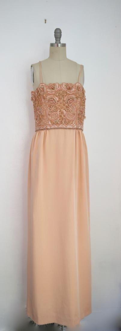 Vintage 1980s Beaded Peach Gown