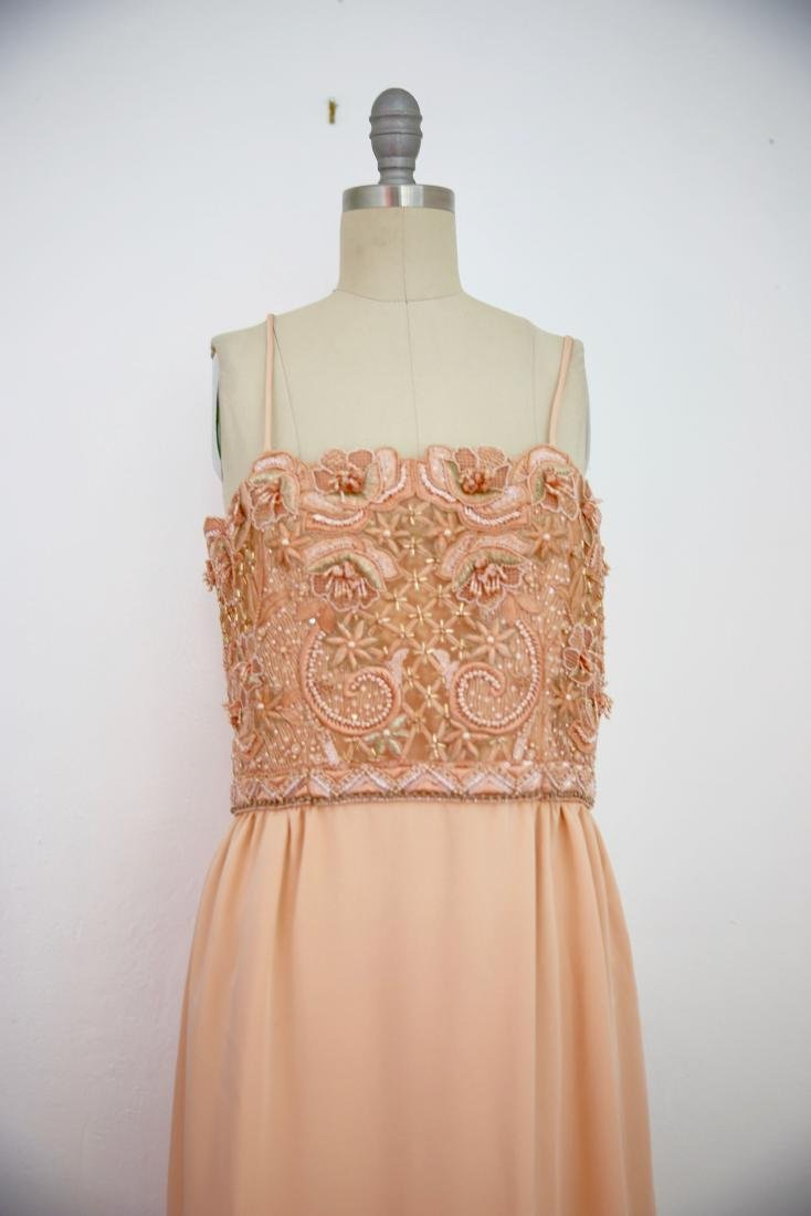 Vintage 1980s Beaded Peach Gown - 2