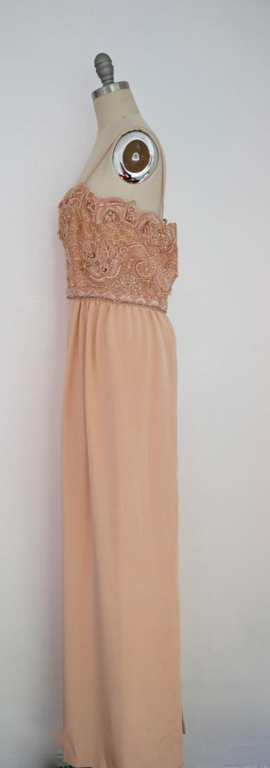 Vintage 1980s Beaded Peach Gown - 3