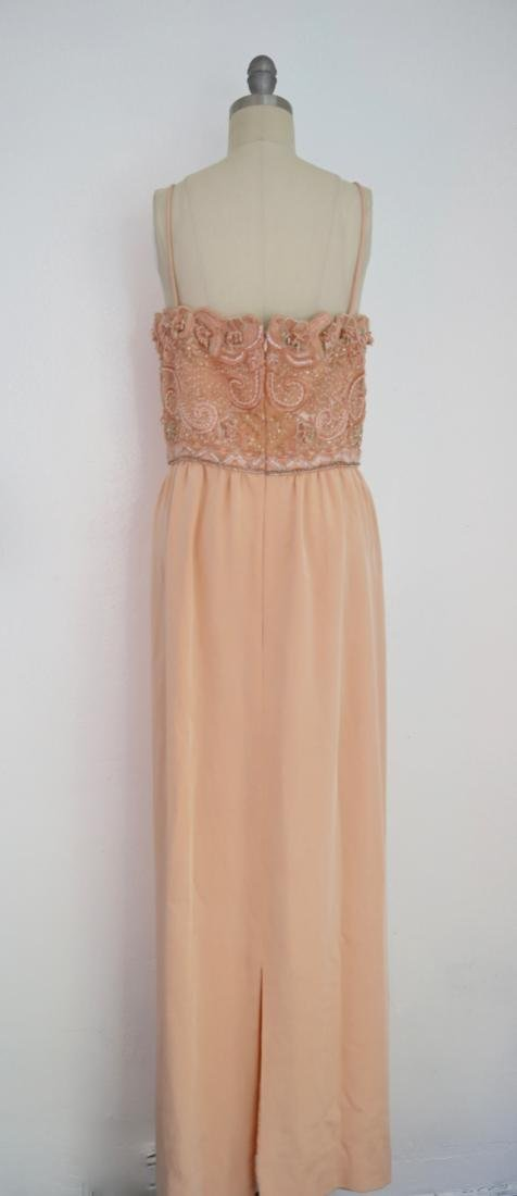 Vintage 1980s Beaded Peach Gown - 4