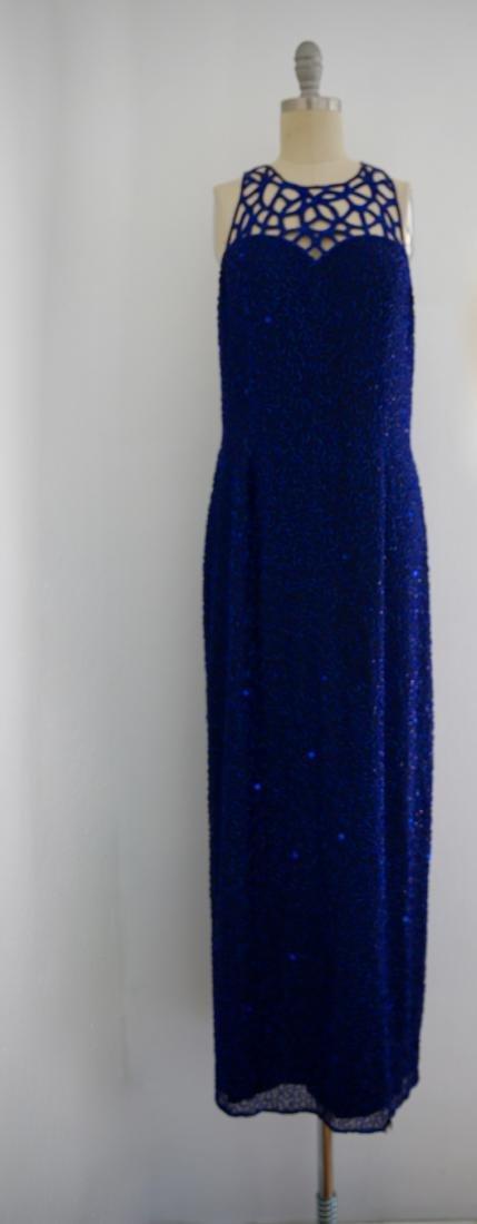 Vintage 1980s Blue Silk Sequin Gown