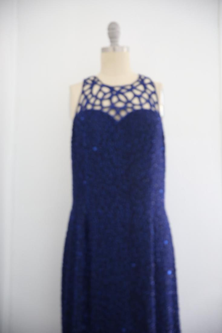 Vintage 1980s Blue Silk Sequin Gown - 2