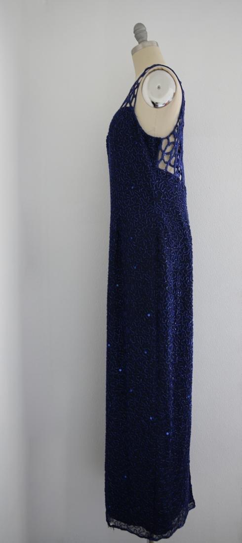 Vintage 1980s Blue Silk Sequin Gown - 3