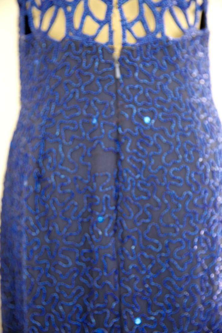Vintage 1980s Blue Silk Sequin Gown - 4