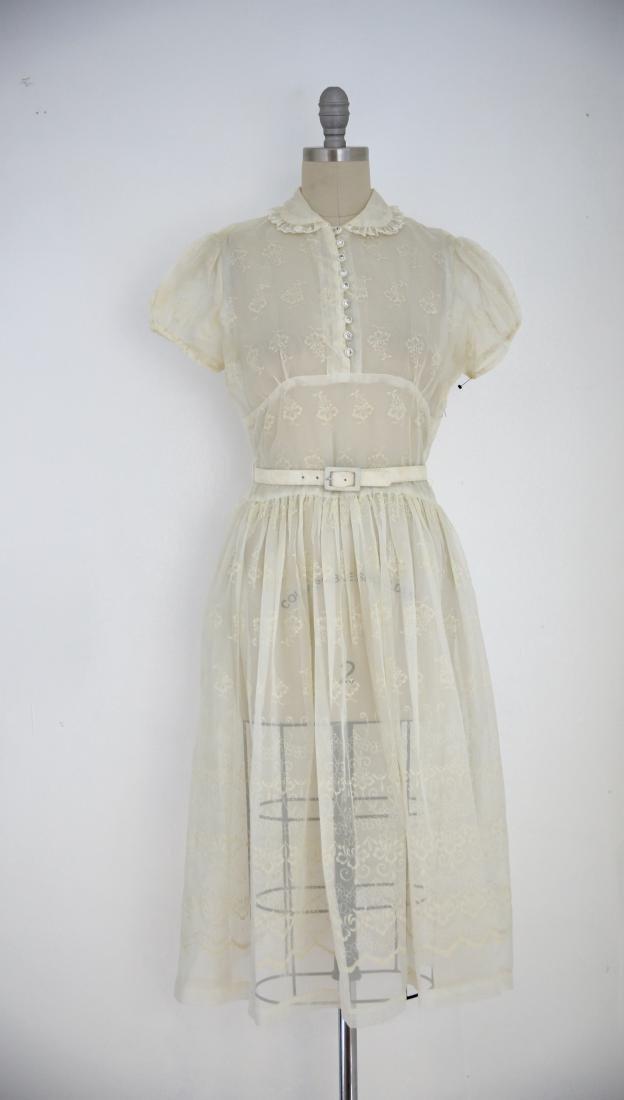 Vintage 1950s Sheer Ivory Floral Day Dress