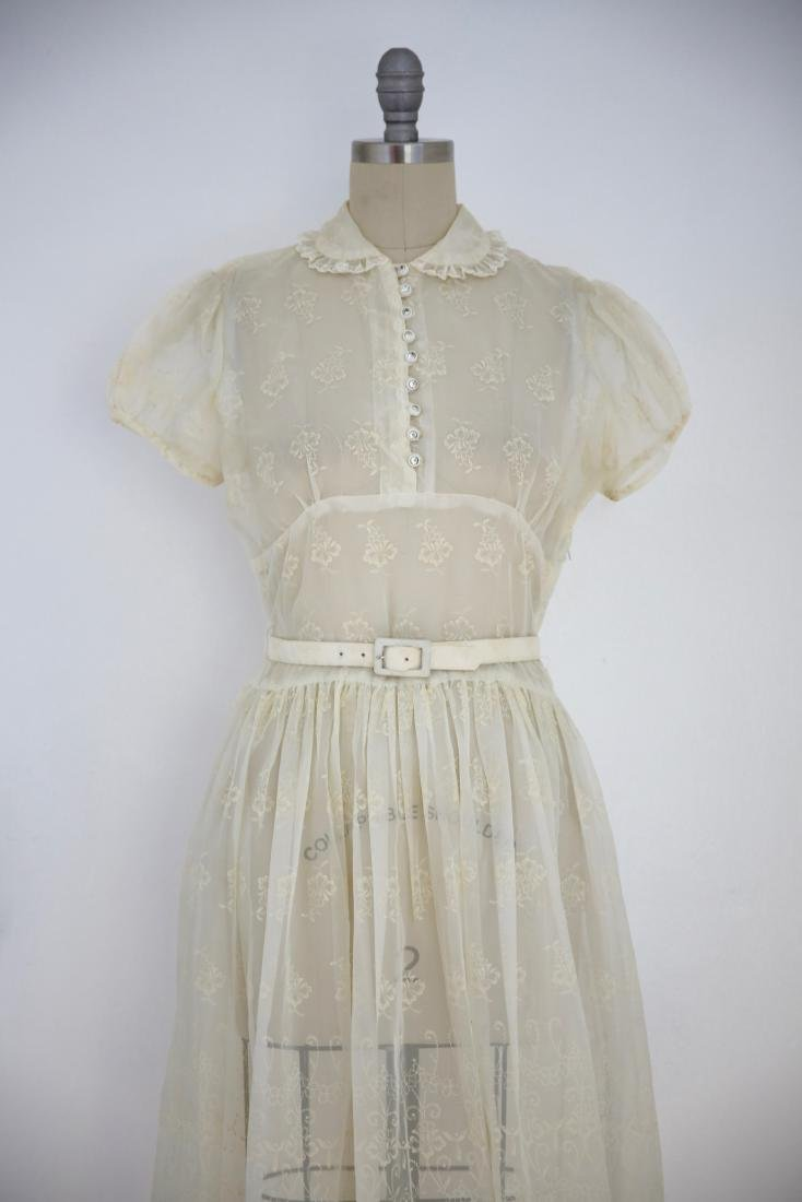Vintage 1950s Sheer Ivory Floral Day Dress - 2