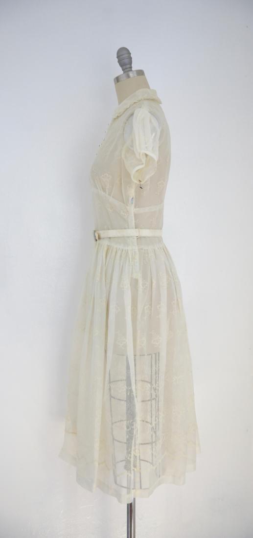 Vintage 1950s Sheer Ivory Floral Day Dress - 3