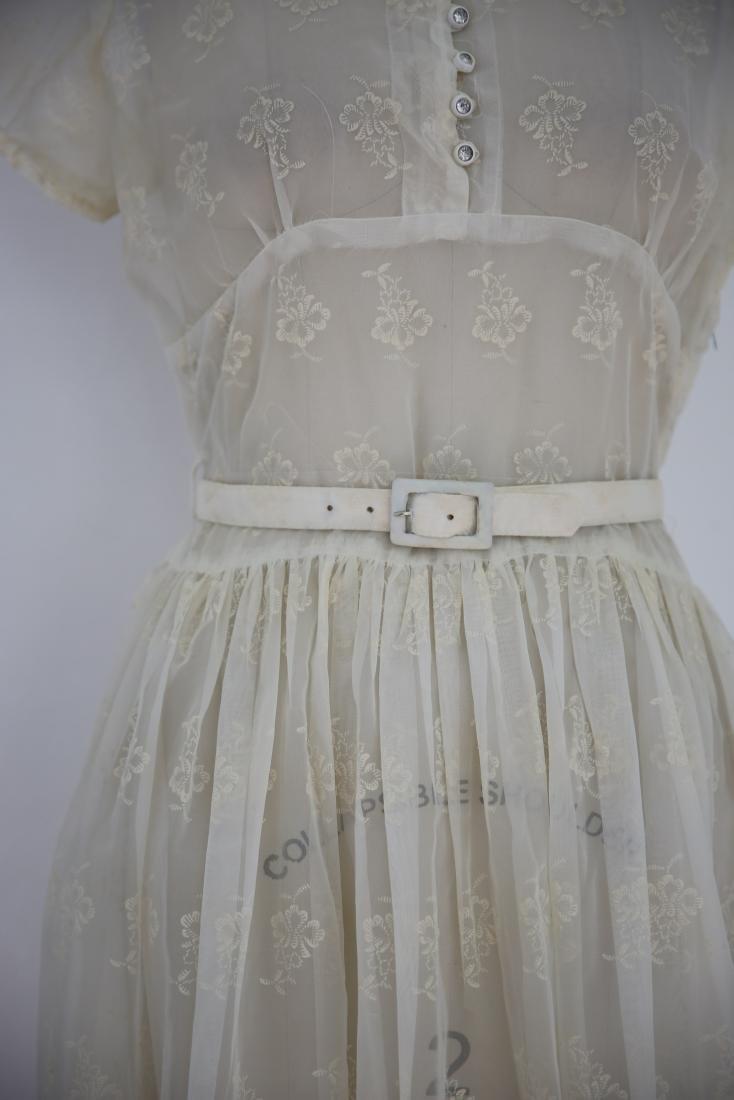 Vintage 1950s Sheer Ivory Floral Day Dress - 4