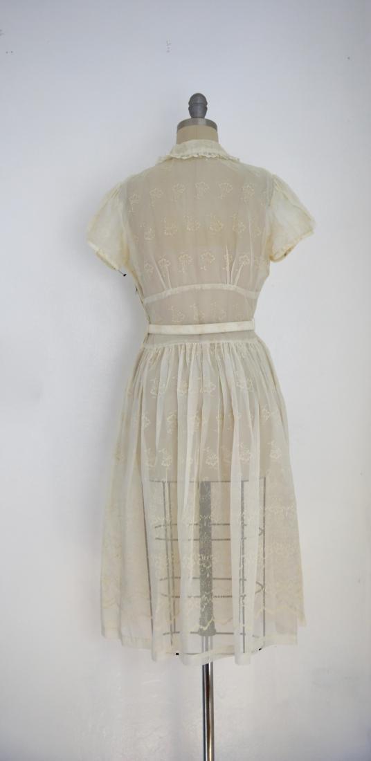 Vintage 1950s Sheer Ivory Floral Day Dress - 5