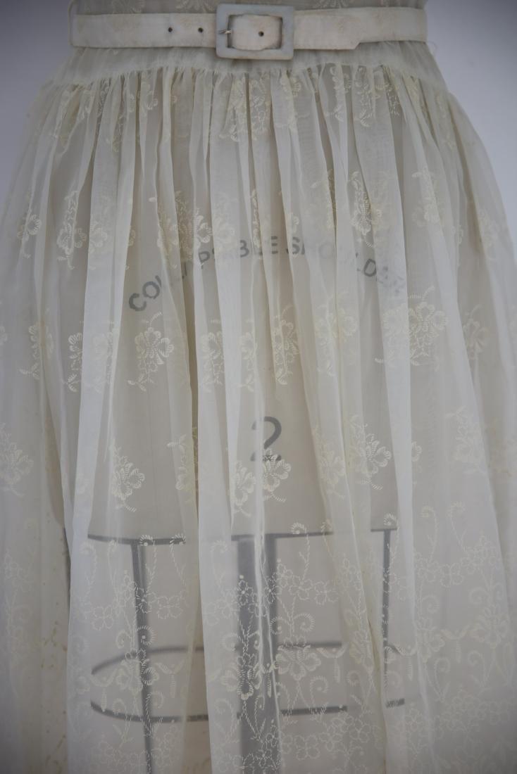 Vintage 1950s Sheer Ivory Floral Day Dress - 6