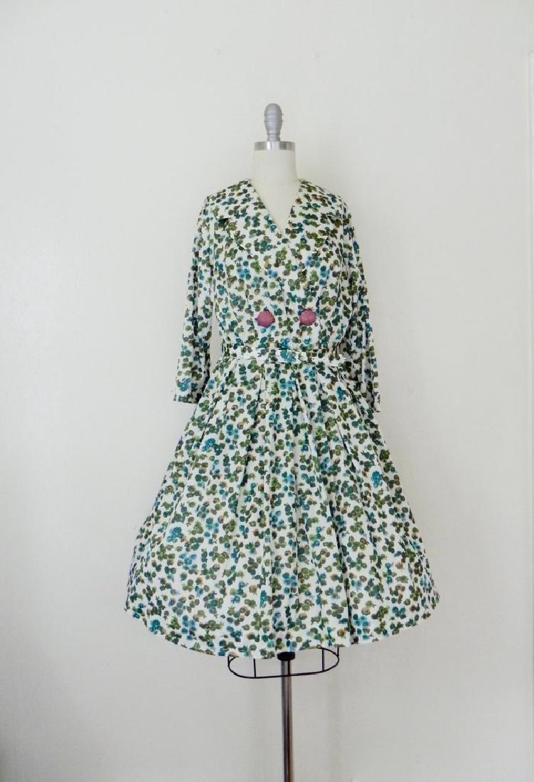 Vintage 1960s Green Floral Swing Dress