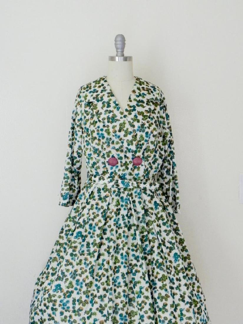 Vintage 1960s Green Floral Swing Dress - 2