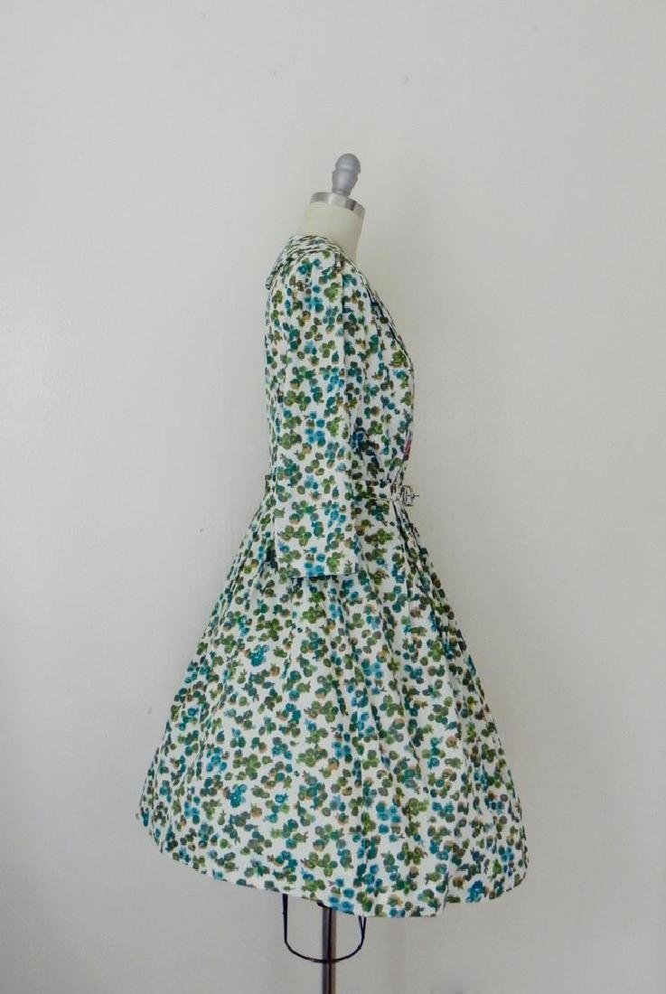 Vintage 1960s Green Floral Swing Dress - 4