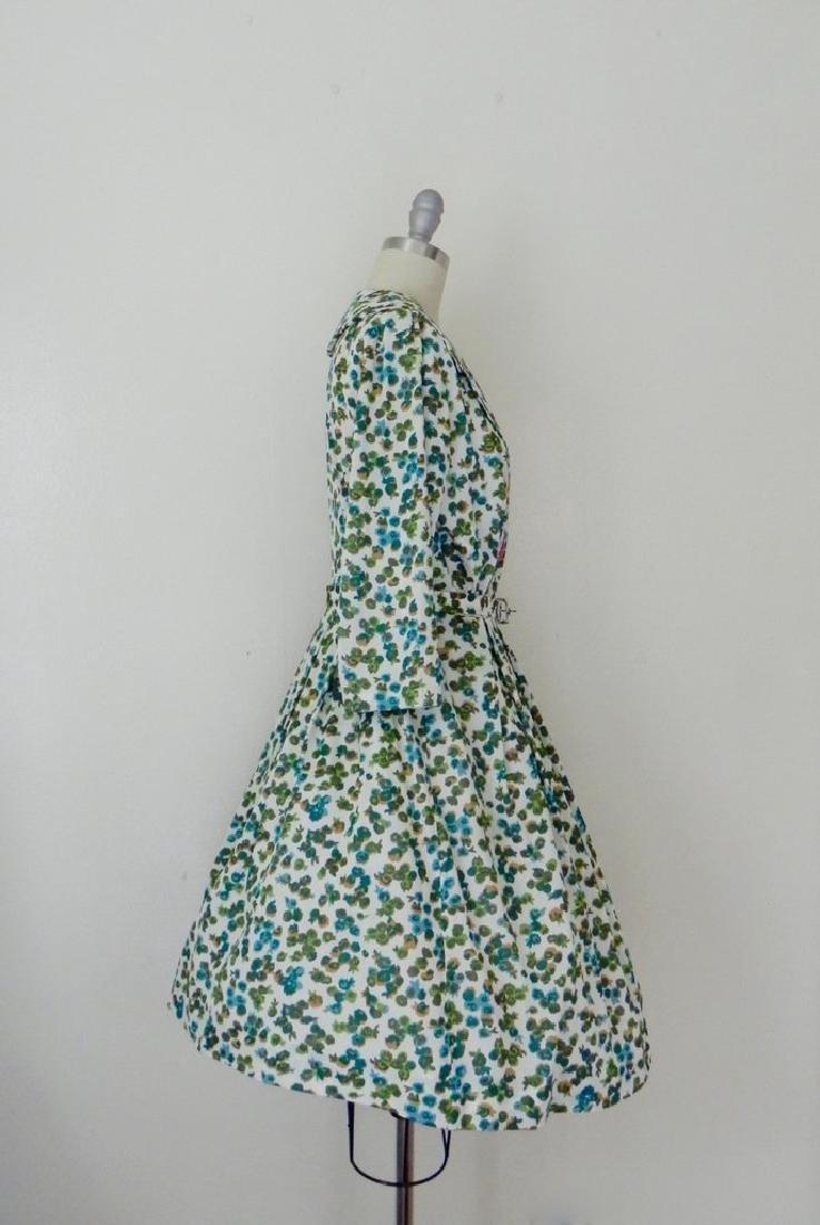 Vintage 1960s Green Floral Swing Dress - 4
