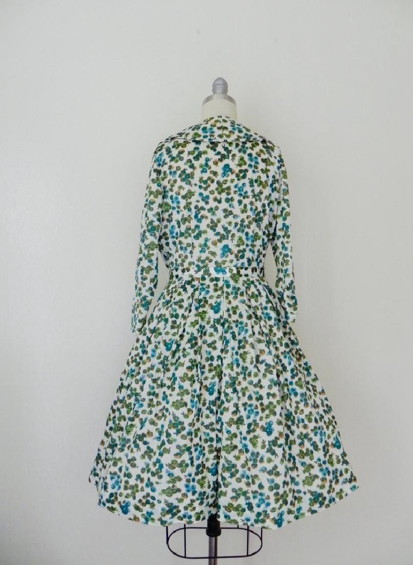 Vintage 1960s Green Floral Swing Dress - 5