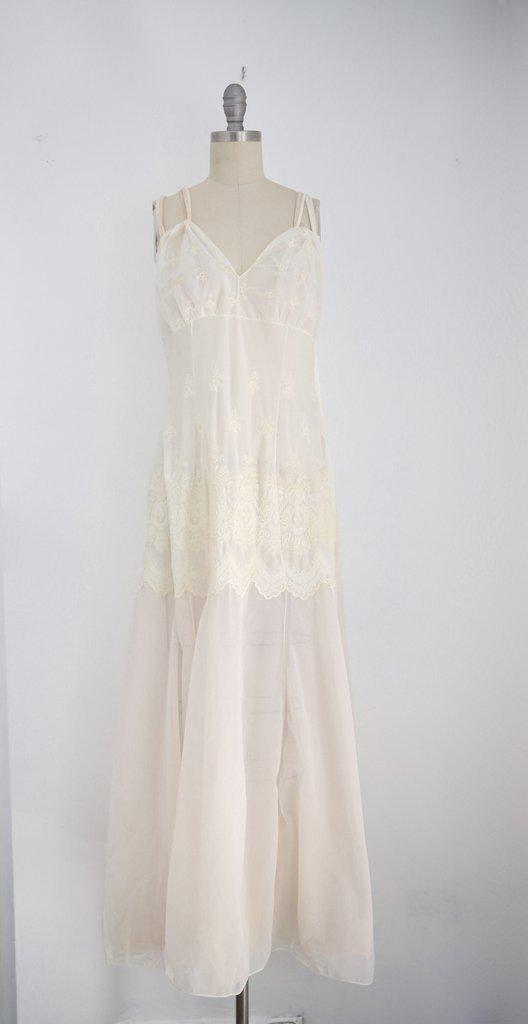 Vintage 1960s Schiaparelli White Nylon Negligee with