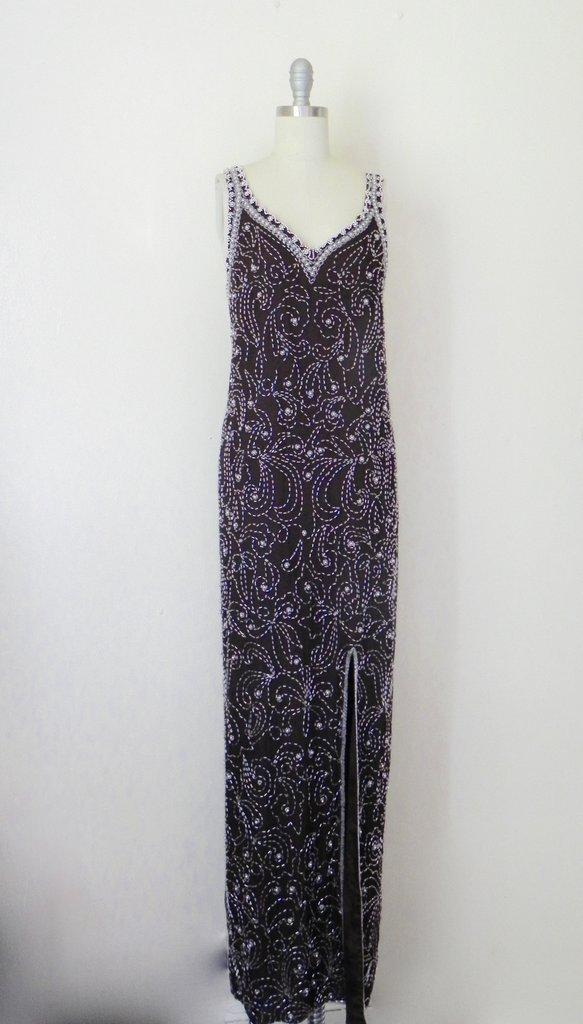 Vintage 1960s Embellished Beaded Brown Silk Layering