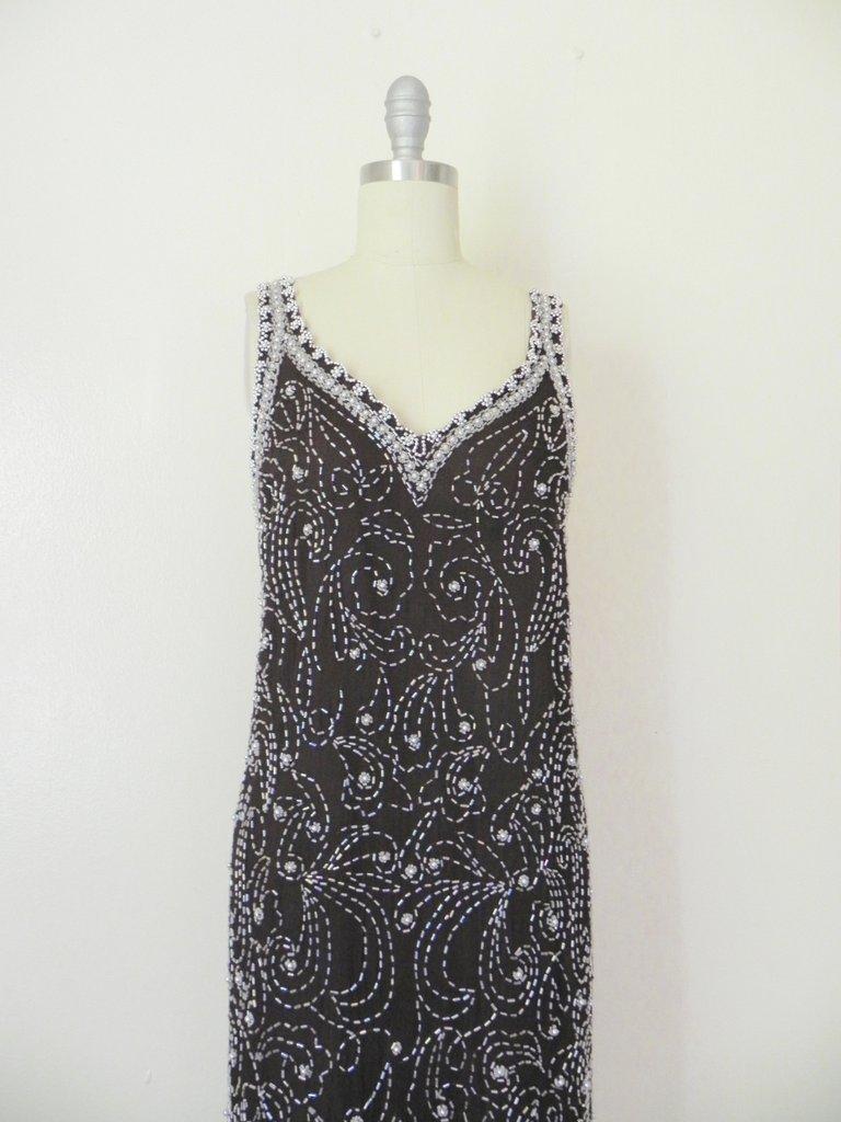 Vintage 1960s Embellished Beaded Brown Silk Layering - 2