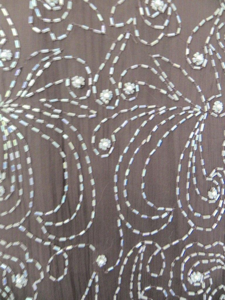 Vintage 1960s Embellished Beaded Brown Silk Layering - 3
