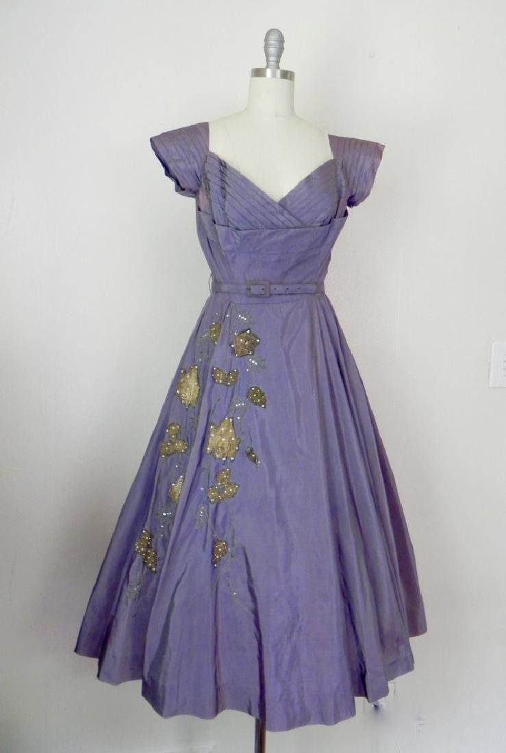 Vintage 1940s-1950s Purple Taffeta Party Dress AS IS
